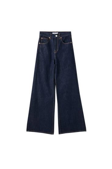 Jeans met hoge taille en wijde pijpen