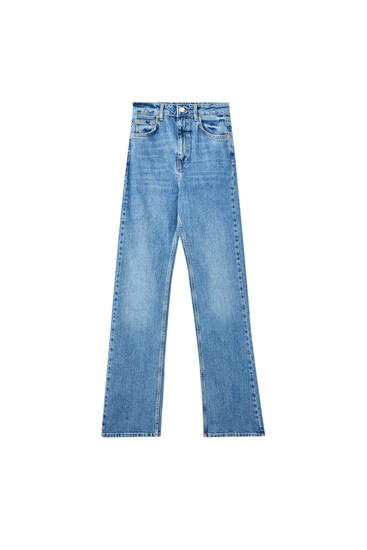 Boot-cut high-waist jeans
