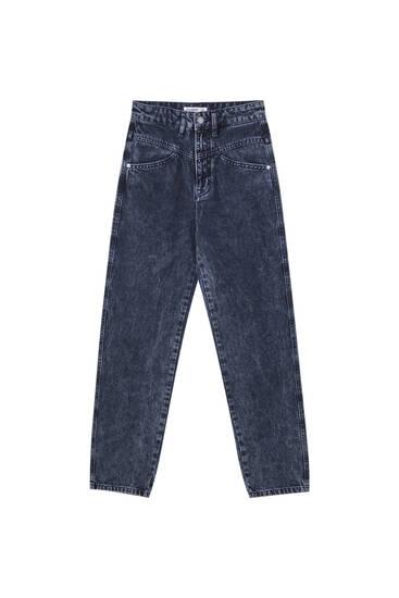 Jeans retas de cintura subida com peça superior