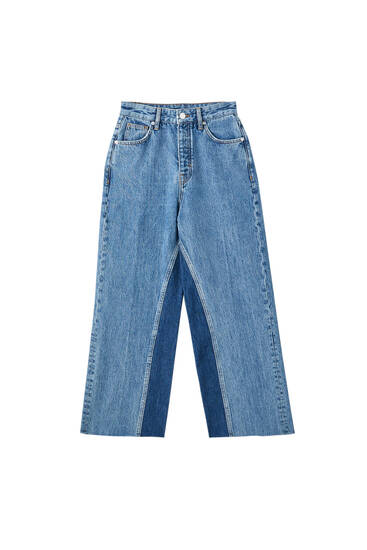 Flared high-waist cropped jeans