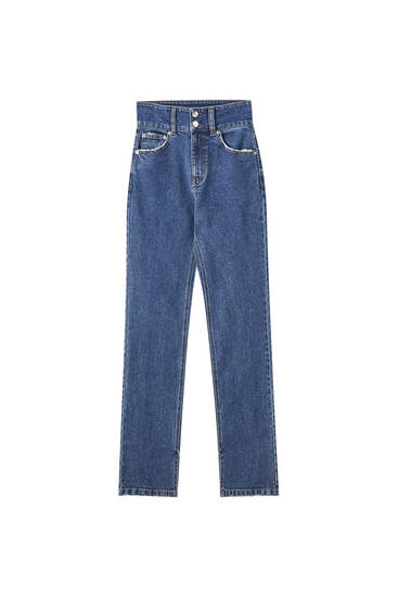 High waist jeans with double button fastening
