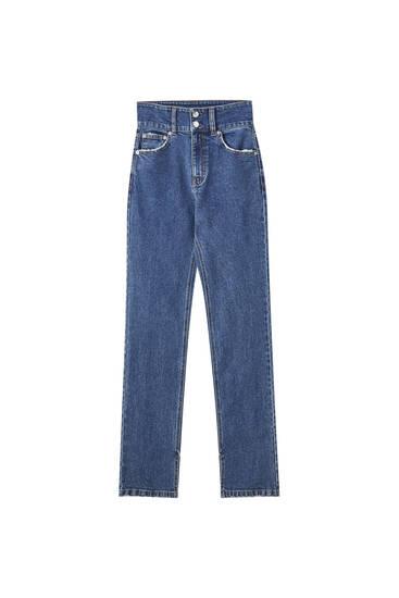 Ψηλόμεσο τζιν παντελόνι με διπλό κουμπί
