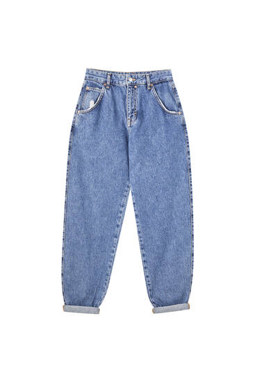 Blue high-waist slouchy jeans