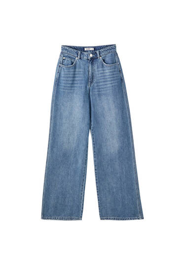 Medium blue wide-leg jeans