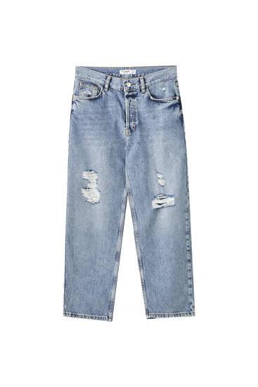 Cropped-Jeans mit hohem Bund und Rissen