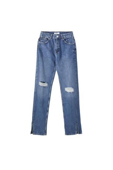 Straight-cut high-waist jeans