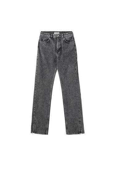 Straight-cut high-waist jeans