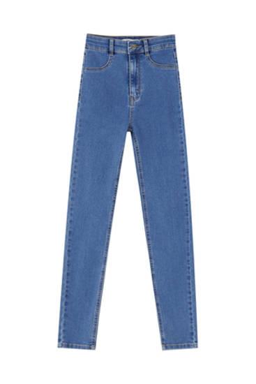 Aptempti džinsai aukštu juosmeniu
