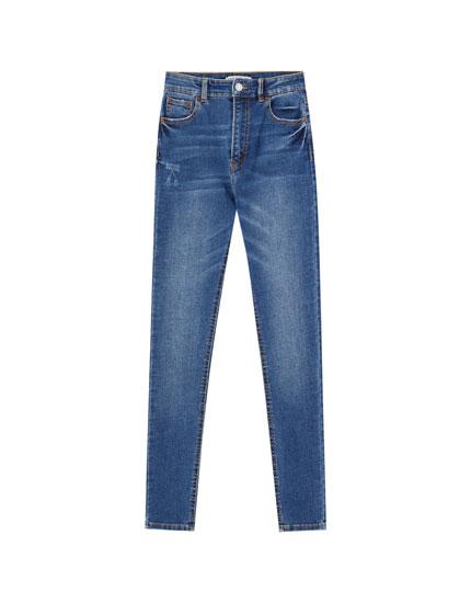 Basic, skinny fit jeans med høj talje