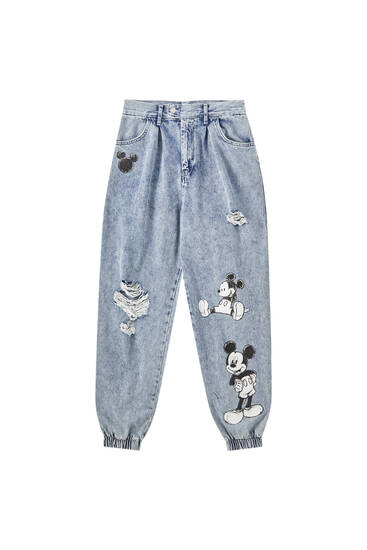 Slouchy-Jeans mit Mickey Mouse