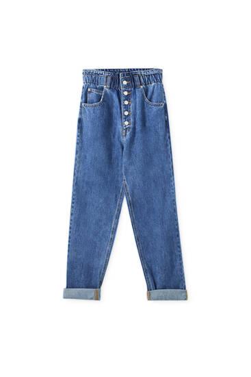 Jeans slouchy botóns dianteiros
