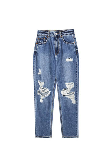 Distressed detaylı mom fit jean