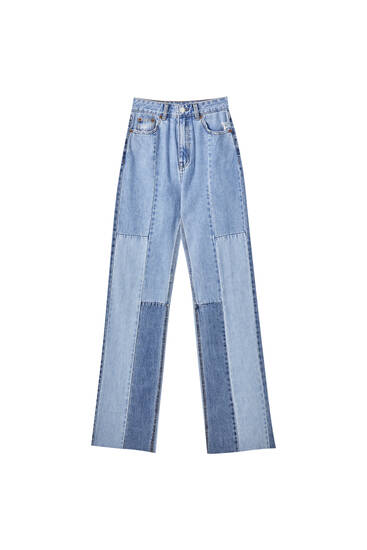 Straight-leg high waist jeans with patchwork design