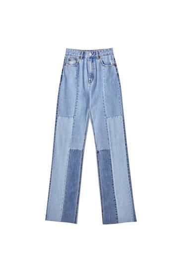 Gerade geschnittene Jeans mit hohem Bund und Patchwork