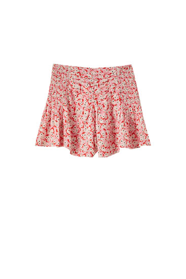 Drapierte Shorts mit Blumenprint