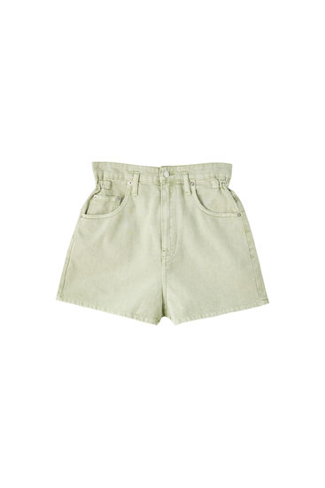 Mint green shorts with elasticated waistband