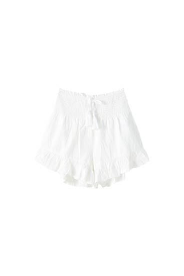 Shorts with shirred elastic lace trim