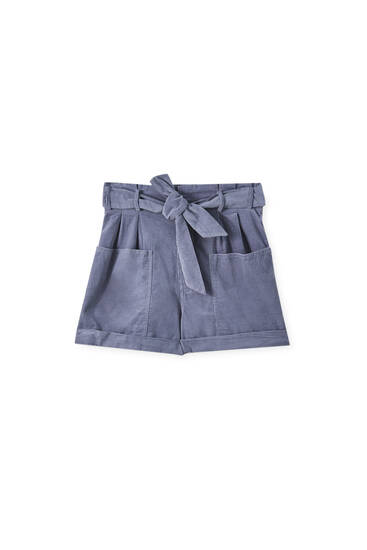 Needlecord shorts with patch pockets