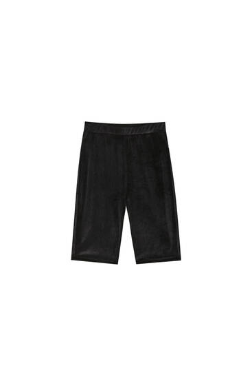 Black velvet cycling shorts