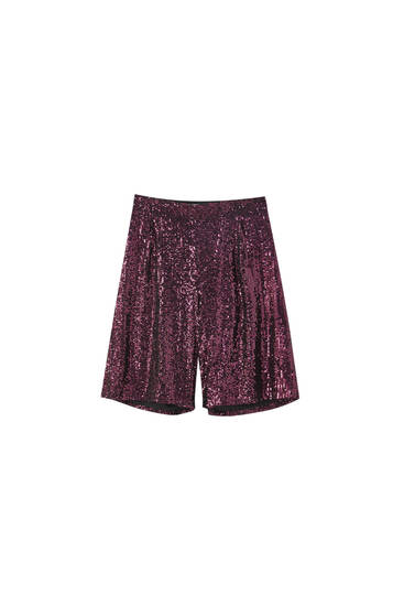 Purple sequin Bermuda shorts