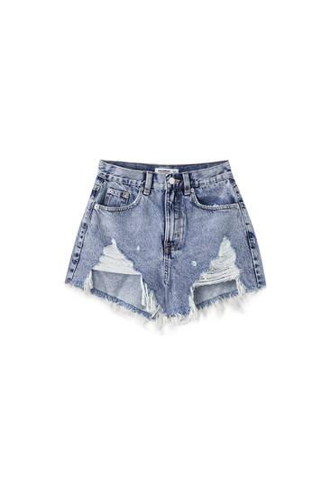 High-waist ripped denim shorts