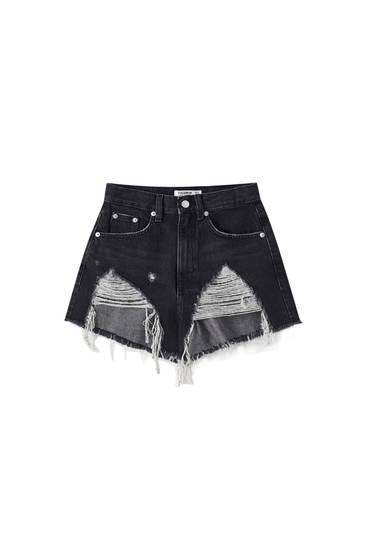Jeansshorts mit hohem Bund und Rissen