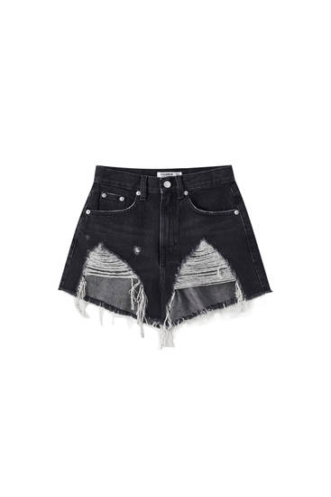 High-waist ripped denim shorts