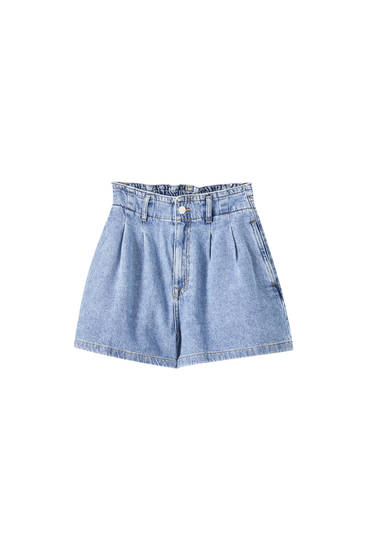 Blue paperbag shorts with elastic detail