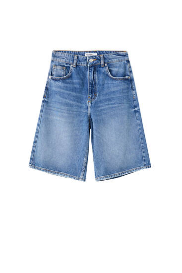 Long denim Bermuda shorts