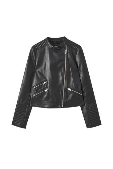 Quilted biker jacket