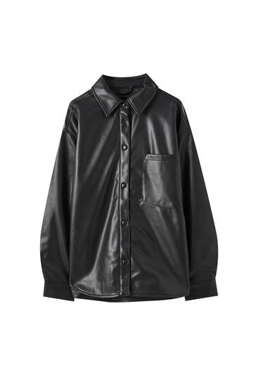Black faux leather overshirt