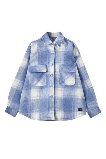 Overshirt with a contrast check print