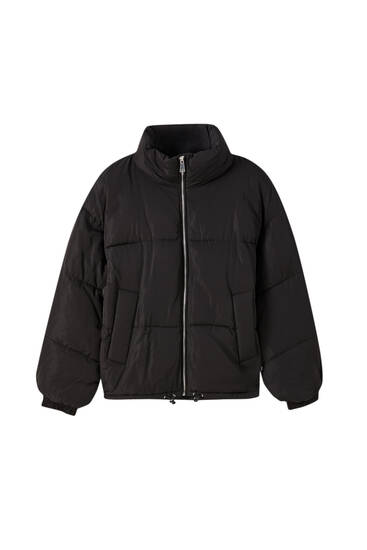 Zipped puffer jacket with a funnel collar