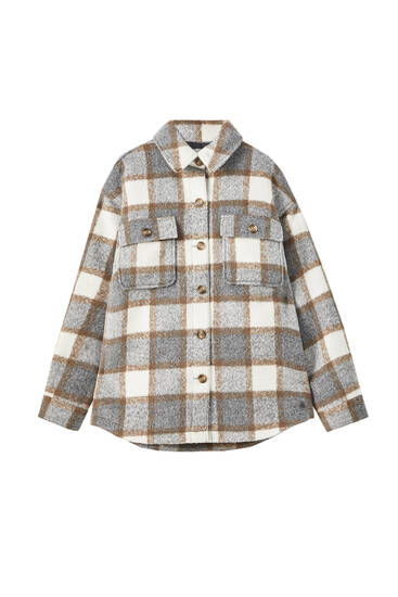 Check overshirt with front pockets