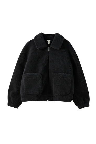 Teddy jacket with front pockets