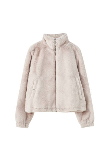 High neck faux fur jacket