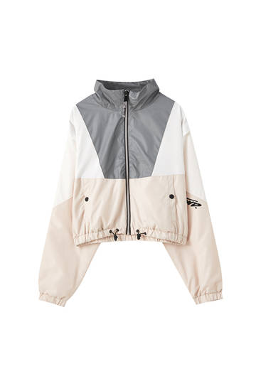 Nylon jacket with reflective panels