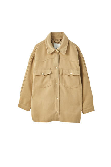 Overshirt with front flap pockets