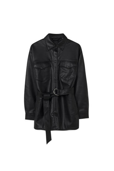 Black faux leather overshirt with a belt