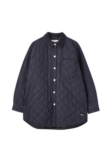 Quilted denim overshirt