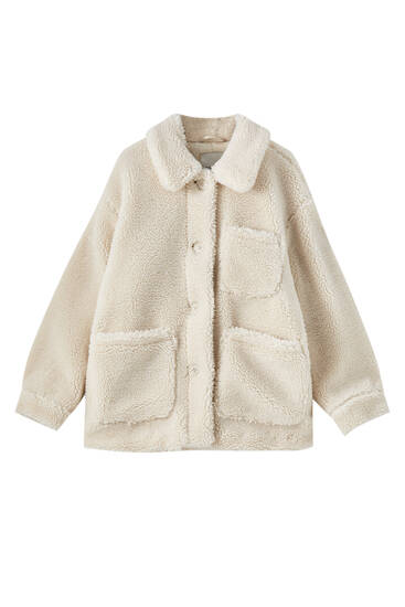 Teddy jacket with patch pockets