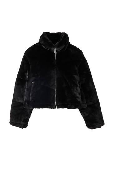 Black faux fur puffer jacket