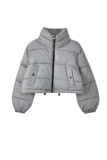 High collar reflective puffer jacket