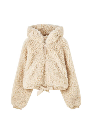 Curly faux fur anorak jacket