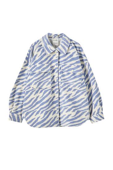 Camisa comprida com estampado de zebra azul