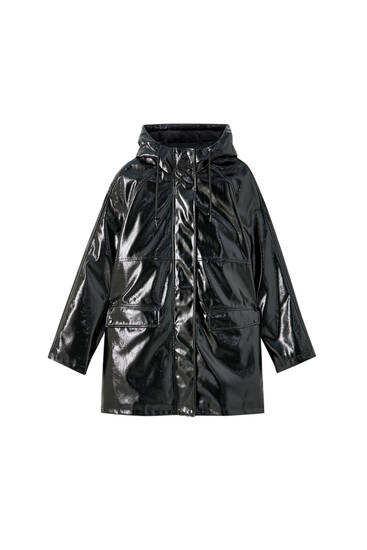 Faux-patent-finish black raincoat