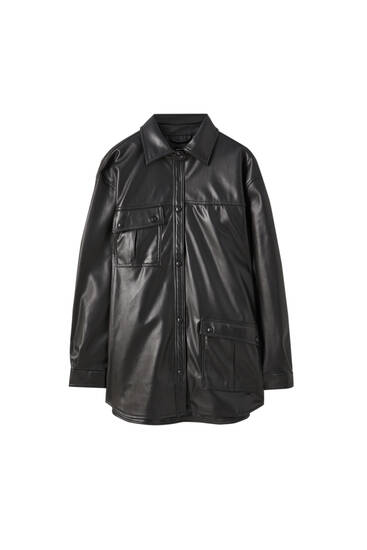 Faux leather overshirt with asymmetric pockets