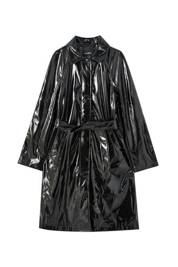 Long vinyl trench coat