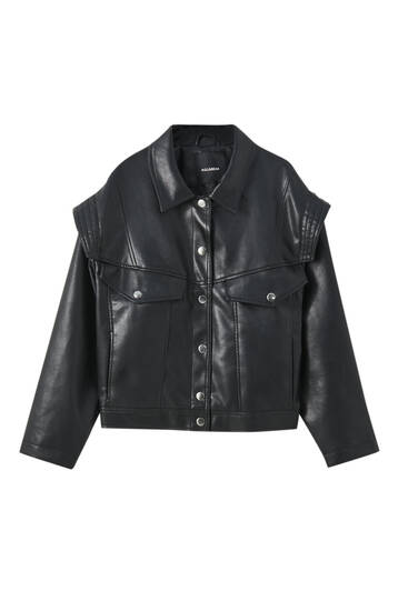Black faux leather retro jacket