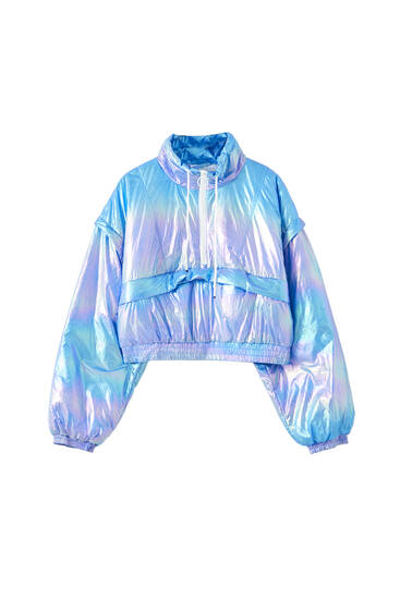 Iridescent lightweight jacket with pocket